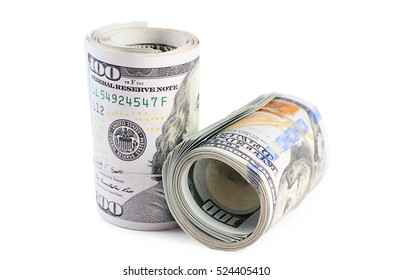 The hundred dollars isolated on white background
