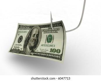 hundred dollars on fishing hook. 3d