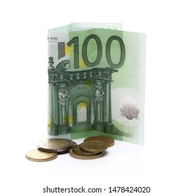 Hundred euro banknote with change, cash money and coins isolated on white background