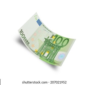 hundred euro banknote on white background