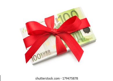 Hundred euro banknotes on a stack with red bow
