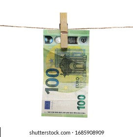 Hundred euro bill, banknote dry hanging on clothesline string with a clothespin, money laundering isolated on white background