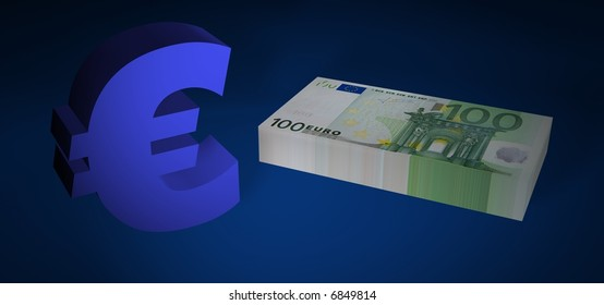 Hundred EURO stack with EURO symbol on blue floor
