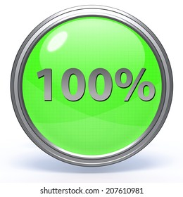 Hundred percent circular icon on white background