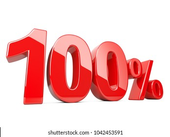 Hundred red percent symbol. 100% percentage rate. Special offer discount. 3d illustration isolated over white background.