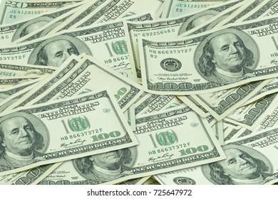 Hundred US dollar banknotes Background.