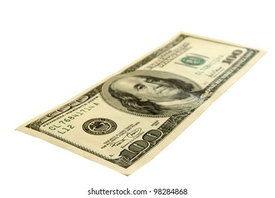 Hundred-dollar bills, isolated on a white background, the outlines of the saved.