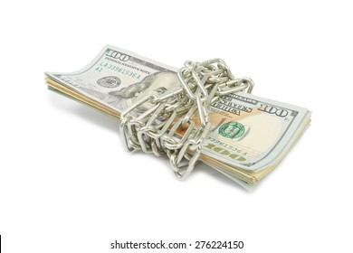 Hundred-dollar bills tied with a silver chain