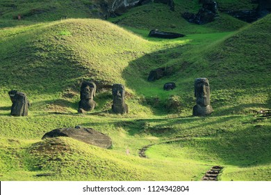 Hundreds of abandoned Moai statue on Rano Raraku volcano, Easter Island, Archaeological UNESCO World Heritage site of Chile