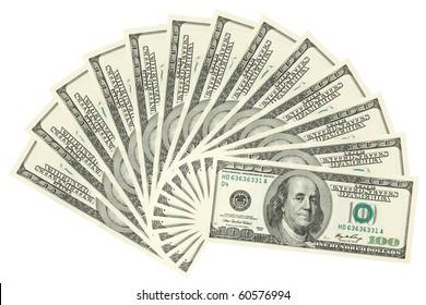Hundreds of dollars spread on white background