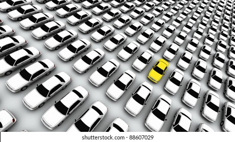 "Hundreds of generic cars. The mystery ""lemon"" car is yellow. DOF, focus is on yellow car."