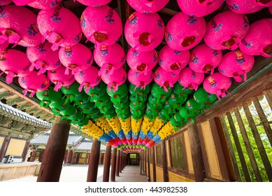 Hundreds of lanterns hanging out of the Bulguksa temple in South Korea.