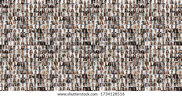 Hundreds of multiracial people crowd portraits headshots collection, collage mosaic. Many lot of multicultural different male and female smiling faces looking at camera. Diversity and society concept.