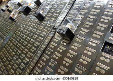 Hundreds of numbered lockboxes. skewed angle to emphasize disorienting number