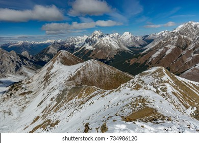 Hundreds of peaks at Highwood Pass, view from Pocaterra Mountain