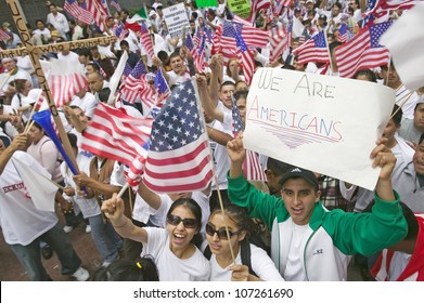 Hundreds of thousands of immigrants participate in march for Immigrants and Mexicans protesting against Illegal Immigration reform by U.S. Congress, Los Angeles, CA, May 1, 2006
