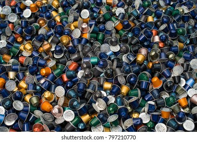 Hundreds of used coffee pods