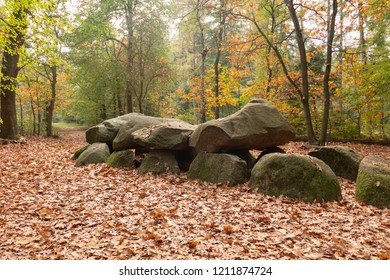 Hunebed dolmen in Annen, Drenthe in the north of the  Netherlands