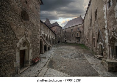 Hunedoara, Romania - December 17, 2017: Inner courtyard of Corvin Castle in Transylvania, Romania. Built in Gothic and Renaissance style is one of the largest in Europe and home of Dracula.