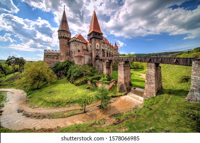 Hunedoara, Romania - May 03, 2019: Corvin Castle or Hunyadi Castle (Romanian: Castelul Corvinilor or Castelul Huniazilor), an imposing Gothic-Renaissance fortification, one of the largest in Europe.