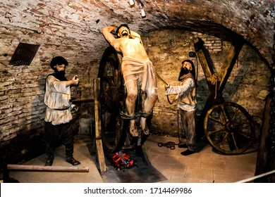 HUNEDOARA, ROMANIA - SEPTEMBER 11, 2019: Hunedoara Museum of Archeology, History and Ethnography. Torture and execution exhibition
