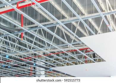 hung ceiling at construction site