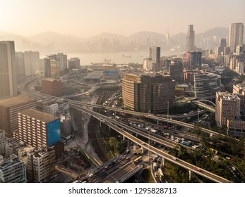 Hung Hom district with its highway leading to the harbor tunnet and the railway station in Kowloon, Hong Kong SAR in China