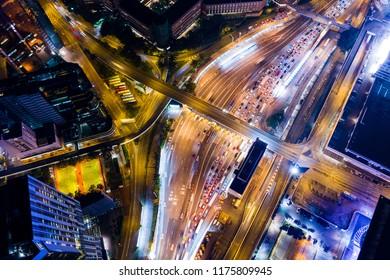 Hung Hom, Hong Kong 05 September 2018:- Top down view of Hong Kong traffic at night