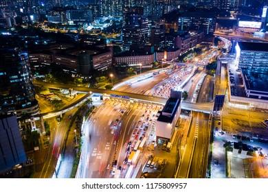Hung Hom, Hong Kong 05 September 2018:- Aerial view of Hong Kong traffic