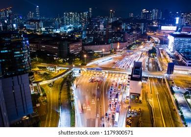 Hung Hom, Hong Kong 05 September 2018:- Aerial view of Hong Kong traffic at night