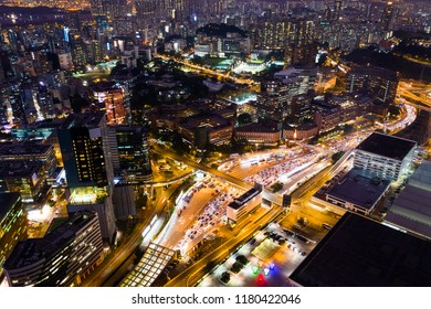 Hung Hom, Hong Kong 05 September 2018:- Top view of Hong Kong traffic at night