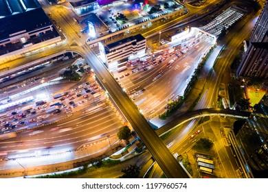 Hung Hom, Hong Kong 05 September 2018:- Top view of cross harbor tunnel
