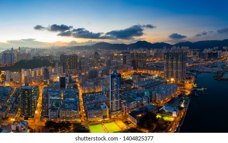 Hung Hom, Hong Kong 12 May 2019: panoramic shot for the city in Hong Kong at night