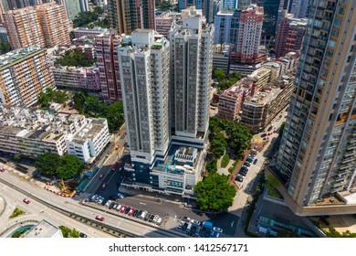 Hung Hom, Hong Kong 12 May 2019: Aerial view of Hong Kong city