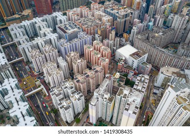 Hung Hom, Hong Kong 12 May 2019: Top view of Hong Kong city