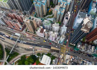 Hung Hom, Hong Kong 12 May 2019: Top view of Hong Kong city