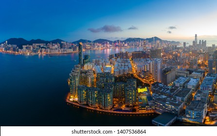 Hung Hom, Hong Kong 14 May 2019: Top view of Hong Kong city