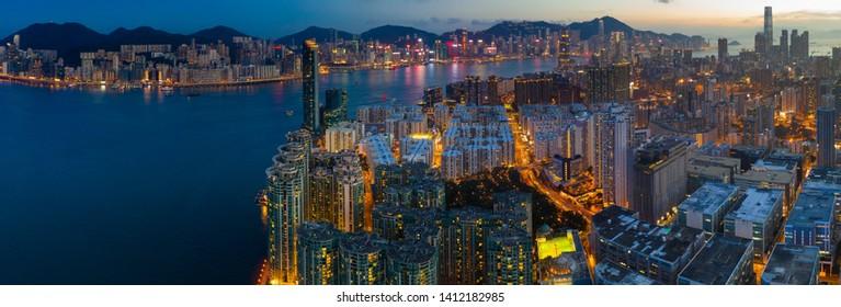 Hung Hom, Hong Kong 15 May 2019: Top view of Hong Kong residential district at night