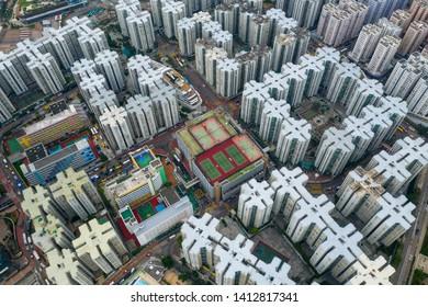 Hung Hom, Hong Kong 15 May 2019: Top view of Hong Kong residential district