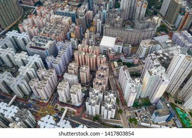 Hung Hom, Hong Kong 15 May 2019: Top view of Hong Kong downtown