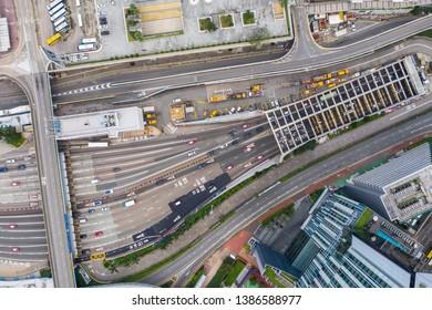 Hung Hom, Hong Kong 21 April 2019: Top view of Cross harbor tunnel in Hong Kong