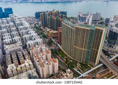 Hung Hom, Hong Kong 21 April 2019: Top down view of Hong Kong urban city