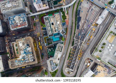Hung Hom, Hong Kong 21 April 2019: Top down view of Hong Kong cross harbor tunnel