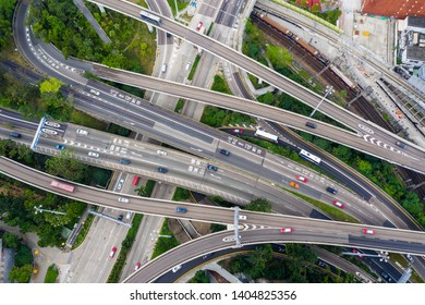 Hung Hom, Hong Kong 21 April 2019: Top down view of Hong Kong traffic