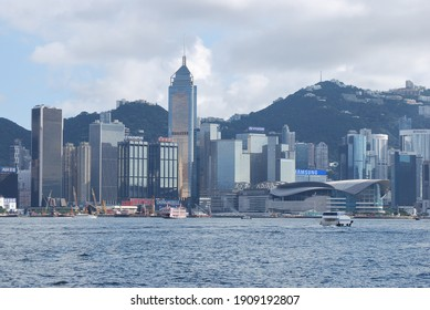 Hung Hom, Hong Kong - July 8, 2012: Footage from the east and west of Victoria Harbour.