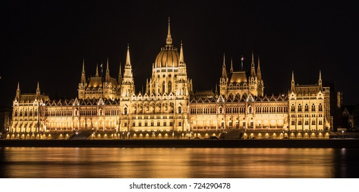 Hungarian, Budapest Parliament, night view with the Danube  in front