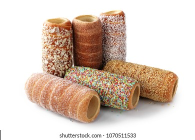 Hungarian chimney cake. A composition of sweet pastries.