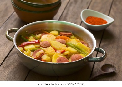 Hungarian dish called Paprikas Krumpli (Potato with Paprika), a stew made of potato, onion, pepper, tomato, sausage, seasoned with Hungarian paprika (Selective Focus, Focus in the middle of the dish)