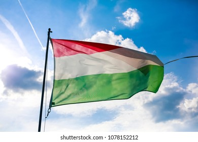 Hungarian flag blow by wind