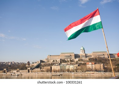 Hungarian flag over the Buda castle in bright morning sunlight.